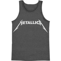 Metallica Men's  Classic Logo Distressed Mens Tank Grey