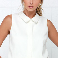 She's the Business Ivory Sleeveless Crop Top