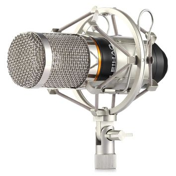 LEIHAO Professional Studio Condenser Sound Recording Microphone with Metal Shock Mount Kit Microphone for Recording