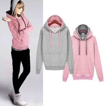 New Women Hoodie Sweatshirt Long Sleeve Hooded Coat Pullover Pullover Tops M-2XL