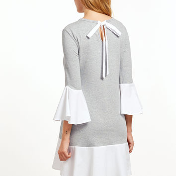 Grey Contrast Tie Back A Line Dress