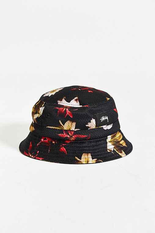 Stussy X UO Floral Mesh Bucket Hat- Black from Urban Outfitters 0ed1ad93975