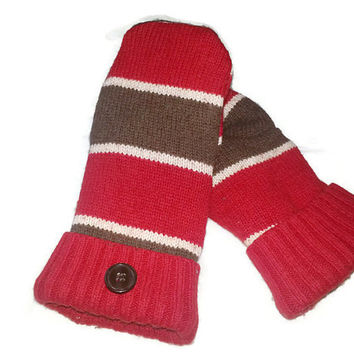red wool sweater mittens, upcycled sweater mittens, recycled sweater, ladies gloves, handmade mittens, etsy mittens, repurposed sweater