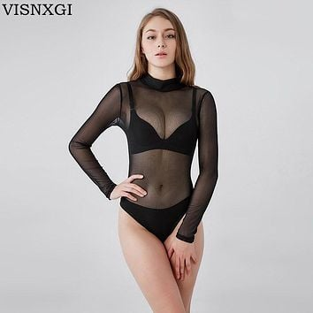 VISNXGI Transparent Bodysuit Women Rompers Bodycon Jumpsuit Long Sleeved Mesh Bodysuit Sheer See Through Turtleneck Bodysuits