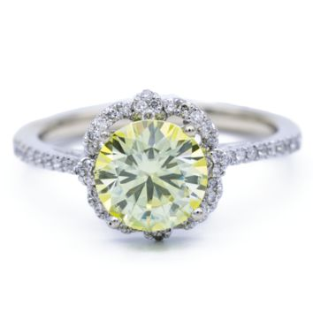 7mm Canary Yellow Round Moissanite 14K White Gold Clover Halo Filigree Shank MicroPave Diamond Ring