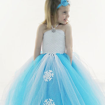 Queen Elsa tutu dress Frozen Inspired Turquoise White Ice Princess costume birthday party snowflake 12-18-24 2T 3T 4T 5T 6 7 8 9 10 11 12 14