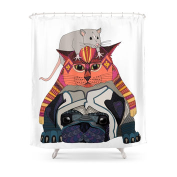 Society6 Mouse Cat Pug White Shower Curtains