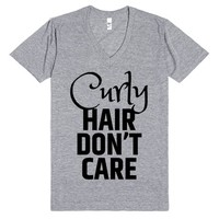 CURLY HAIR DON'T CARE V-NECK T-SHIRT IDE07261915