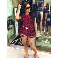 FENDI Summer Newest Fashion Woman Casual Print Short Sleeve Top Shorts Set Two Piece