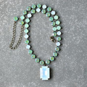 Mint Opal Statement Necklace Swarovski Crystal Blue Green White Opal Aurora Borealis Tennis Necklace Opal Pendant
