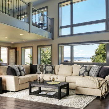 Furniture of america SM1114 3 pc Cate beige woven fabric sectional sofa set