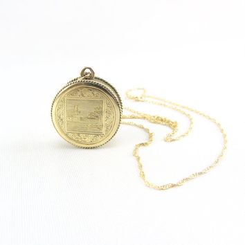 "Antique Victorian 14K Yellow Gold Locket Pendant Necklace - Double Sided Etched Design Memory Locket with 1800s Transatlantic Cable ""Nettie"""