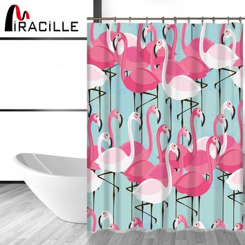 Miracille Pink Flamingo Modern Shower Curtain with Waterproof Polyester Fabric Bathroom Curtains For Home Decor 12 Hooks