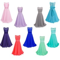 Ready to Ship Cheap Flower Girl Dresses Scoop A-line Ankle Length Lace Dresses Girls Formal Occasion Dresses Christmas