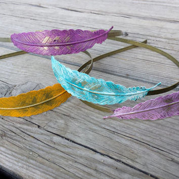 Rustic Metal Feather Headband Women Hair Accessory Leaf Metal Headband Faux Patina Boho Chic Feather Headband  Orange Purple Turquoise Pink