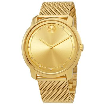 Movado Bold Gold Sunray Dial Unisex Gold Tone Mesh Watch 3600460