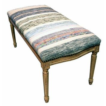 Pre-owned Bench Upholstered with Blue and White Kilim