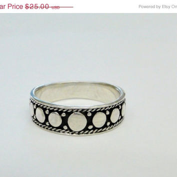 On SALE On Sale Sterling Band Circle Design Ring for Men Thumb Size 9.5