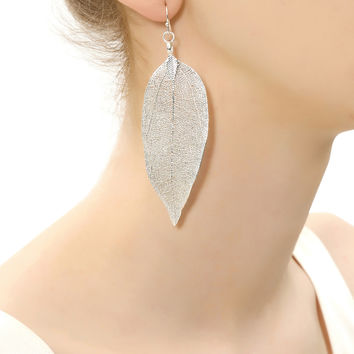 Dipped Leaf Earrings | Silver | Accessorize