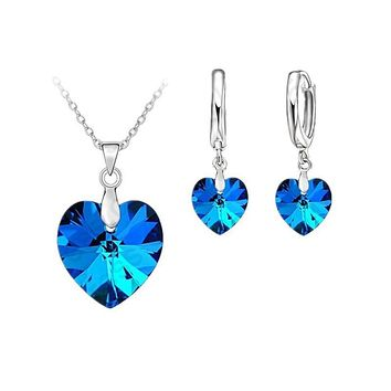Police Support Heart Stone Pendant and Earrings Set