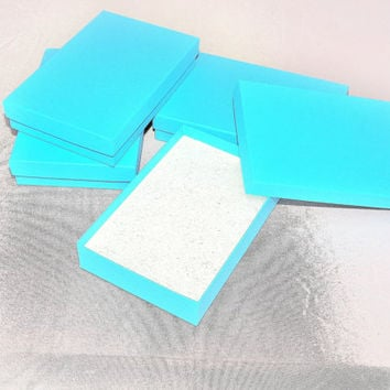 """10 5.5""""x3.5""""x1"""" Sky Blue Cotton filled Jewelry Presentation Display Gift Boxes Craft Retail Chevron design Party Necklace Boxes"""