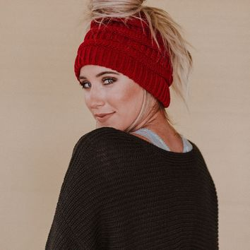 Messy Bun Knitted Beanie Hat - Burgundy