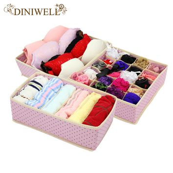 DINIWELL 3PCS Foldable Home Underwear Storage Box Non Woven Bra Tie Socks Container Wardrobe Organizers Closet Dividers