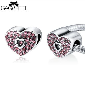 Lovely Bead Charm Fit For Pandora Necklace Bracelet Chains Love Heart Crystal Beads Women