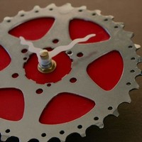bicycle clock - cherry red