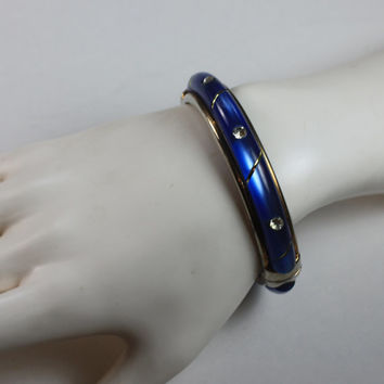 Blue Lucite Hinged Bangle Bracelet Clear Rhinestone Accents