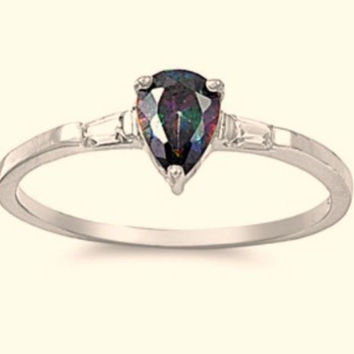 Sterling Silver Rainbow Mystic Topaz CZ Teardrop Engagement Ring size 4-9