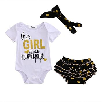 Newborn Baby Girl Short Sleeve Tops Romper +Sequins Dot Ruffle Shorts+Headband Outfits Set Clothes 3pcs