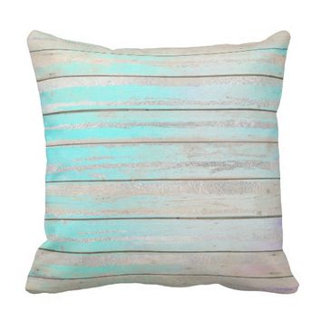 Tiffany Aqua Beach Home Blue Wood Gray Silver Throw Pillow