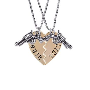 Gun Puzzle Best Friends Broken Heart Bonnie & Clyde Necklace