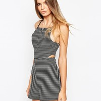 ASOS 90's Playsuit in Stripe with Ring Pull