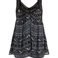 Black V Neck Crochet Aztec Print Top