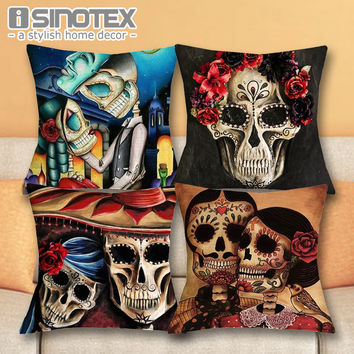 Day of Dead Style Cushion Cover Sugar Skull Throw Pillow