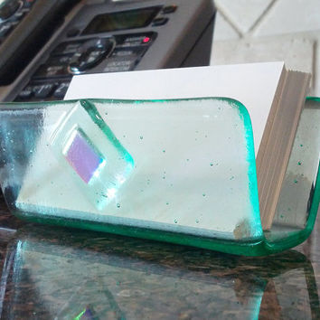Business Card Holder, Blue-Green Office Desk Decor, Dichroic Accent, Transparent Fused Glass