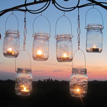 DIY Wedding Mason Jars Lanterns Hangers 6 DIY Outdoor Party Hanging Candle Kits, Luminaries by TreasureAgain, Handmade Hangers Only-No Jars
