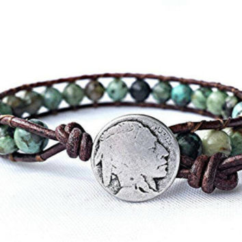 african turquoise leather wrap bracelet, beaded wrap bracelet, leather bracelet, gemstone leather wrap bracelet, boho Indian head jewelry