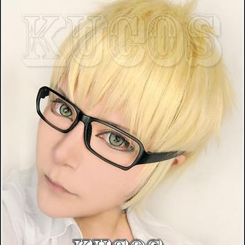 Cool Biamoxer Anime Haikyuu!! Kei Tsukishima Cosplay Wigs Short Light Blonde Cosplay Costume Wig Heat Resistant (not include glasses)AT_93_12