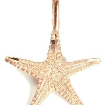 SOLID 14K ROSE GOLD HAWAIIAN STARFISH CHARM PENDANT DIAMOND CUT 15.50MM