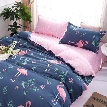 Cartoon Pink Flamingo Bedding Sets 3/4pcs Geometric Pattern Bed Linings Duvet Cover Bed Sheet Pillowcases Cover Set