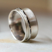 Spinner ring, Wide band ring,Sterling silver ring ,fidget ring , Meditation ring,Anxiety ring,Spinner for women, mens ring, one band spinner