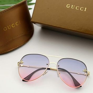 """GUCCI"" Popular Woman Delicate Bee Candy Color Summer Sun Shades Eyeglasses Glasses Sunglasses Blue/Pink"