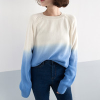 Loose long-sleeved gradient sweater