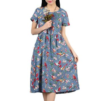 Plus Size Casual Cotton Linen Summer Dress Print Vintage Women Dress Vestidos A Line O-neck Maxi Long Dress  2017 Party Dresses
