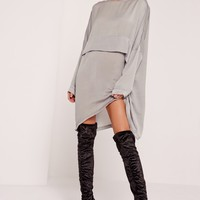 Missguided - Oversized Satin Dress Grey