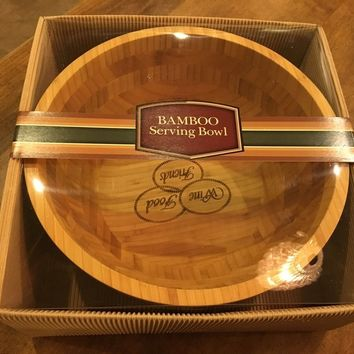 """New Thirstystone Bamboo Serving Bowl Wine-Food-Friends 12"""" x 5"""""""
