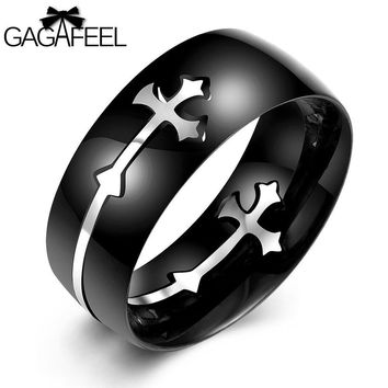 GAGAFEEL Cool Cross Ring Punk Black Stainless Steel Men Jewelry Luxury Trendy Finger Rings 8MM Width Unique Gift For Male Boy